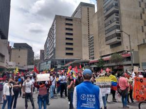 Kristna Freds på plats under demonstrationerna i Bogotá